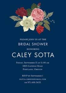 Vintage Floral on Navy Bridal Shower Invitation