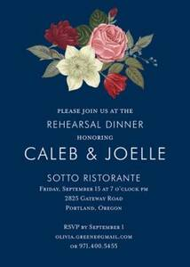 Vintage Floral On Navy Rehearsal Dinner Invitation