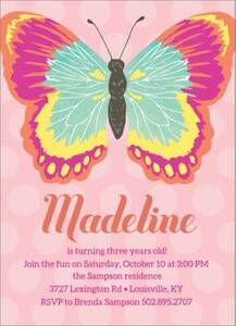 Pink Butterfly Birthday Party Invitation