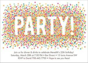 Colored Confetti Party Invitation