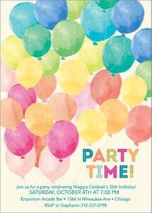 Watercolor Balloons Party Invitation