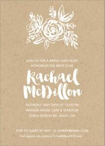 Paper Bag Flowers Bridal Shower Invitation