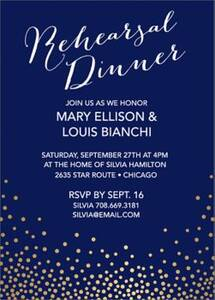 Gold Foil Stamped Champagne Rehearsal Dinner Invitation