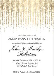 Foil Stamped Chandelier Anniversary Party Invitation