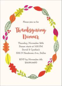 Thanksgiving Wreath Party Invitation