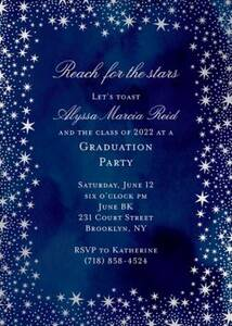 Silver Foil Reach For The Stars Graduation Party Invitation