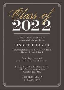 Gold Foil Class Of Graduation Party Invitation