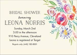 Watercolor Flowers Bridal Shower Invitation
