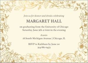 Foil Horizontal Blossom Border Graduation Invitation