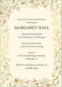 Foil Vertical Blossom Border Graduation Invitation