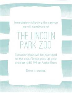 Watercolor Stripes Bar Mitzvah Information Card