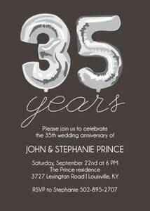 Thirty-Five Years Balloons Anniversary Party Invitation