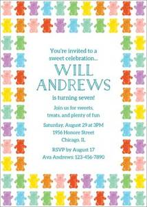 Rainbow Bears Birthday Party Invitation