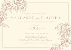 Blossom Border Letterpress Wedding Invitation