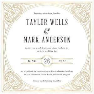 Golden Age Foil Stamped Wedding Invitation
