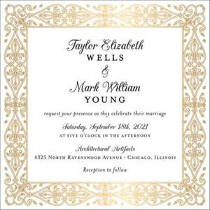 Gilded Border Foil Thermography Wedding Invitation