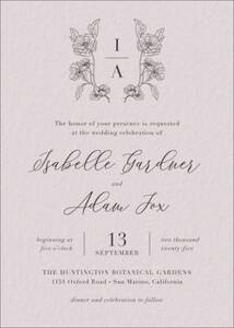 Blossom Monogram Wedding Invitation