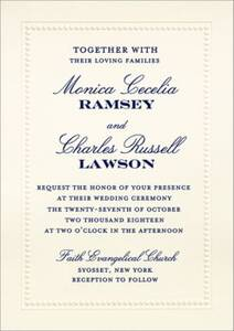 Beaded Border Night Wedding Invitation