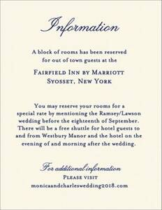 Beaded Border Night Wedding Information Card