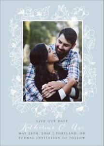 Floral Frame Photo Save the Date Card