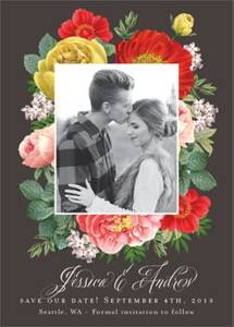 Botanical Frame Photo Save the Date Card