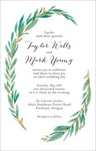 Tall Olive Branch Wedding Invitation