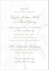 Rose Letterpress Wedding Invitation