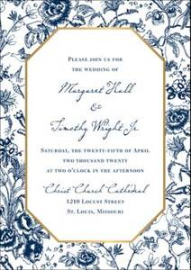 French Toile Wedding Invitation